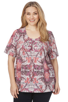 Plus Size - Beme Elbow Sleeve Print Pintuck Top