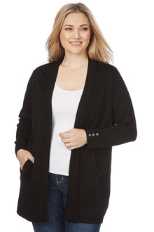 Plus Size - Beme Long Sleeve Button Detail Cardigan