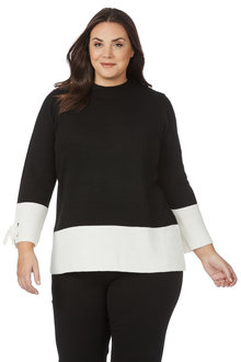 Plus Size - Beme Long Sleeve Colour Block Jumper