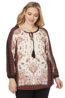 Plus Size - Beme Long Sleeve Paisley Border Top