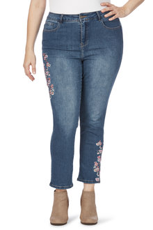 Plus Size - Beme Reg Length Slim Fit floral Embroidered Jean