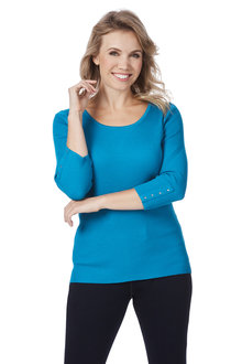 Rockmans 3/4 Sleeve Scoop Neck Rib Knit