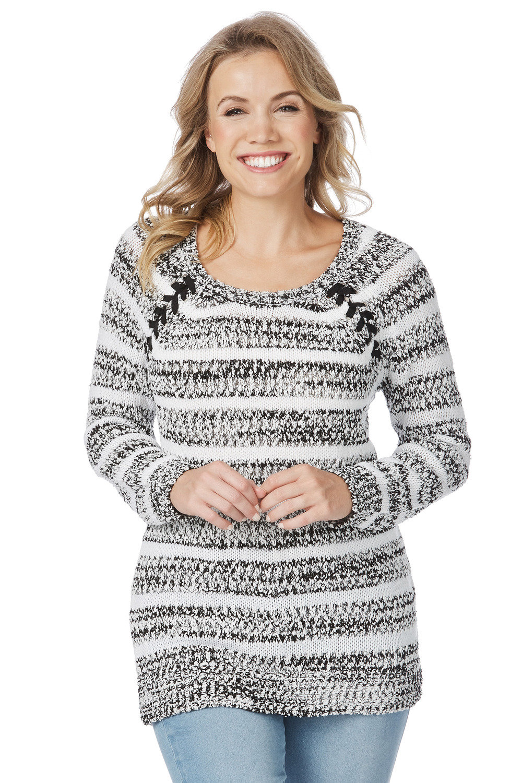 980b47d2132 Rockmans Long Sleeve Eyelet Marle Stripe Knit Online