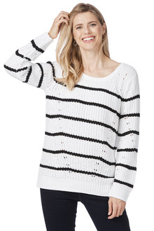 Rockmans Long Sleeve Scoop Stripe Chenille Knit