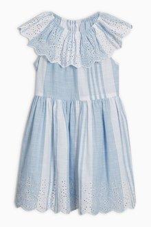 Next Stripe Broderie Dress (3-16yrs)
