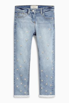 Next Denim Mid Blue Embroidered Skinny Jeans (3-16yrs)
