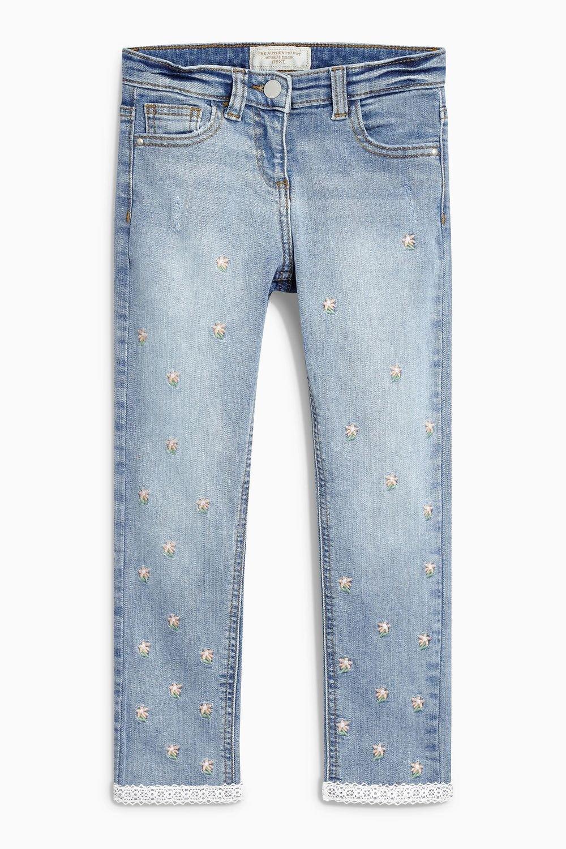 Next Denim Mid Blue Embroidered Skinny Jeans (3-16yrs) Online | Shop EziBuy