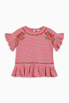 Next Striped Embroidered Ruffle Top (3-16yrs)