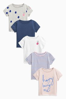Next Bunny Print T-Shirts Five Pack (3-16yrs)