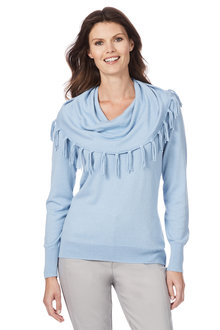 W.Lane Cowl Fringe Sweater