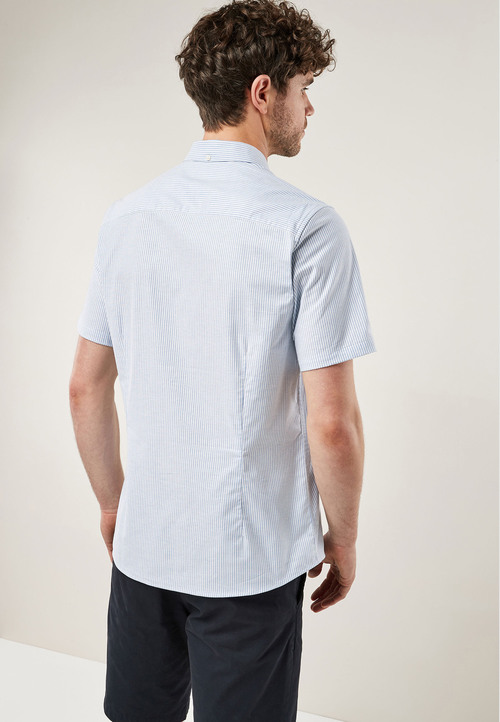 Next Short Sleeve Stripe Stretch Oxford