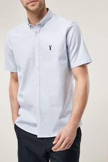 Next Short Sleeve Stripe Stretch Oxford - 208690