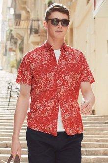Next Red/Ecru Short Sleeve Printed Shirt