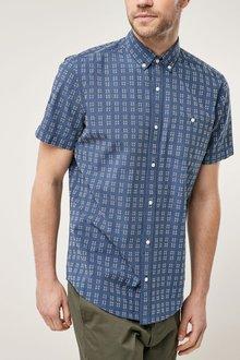 Next Navy Short Sleeve Textured Shirt