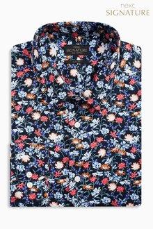 Next Signature Floral Print Slim Fit Shirt