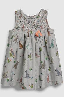 Next Grey Kangaroo Print Dress (3mths-6yrs)