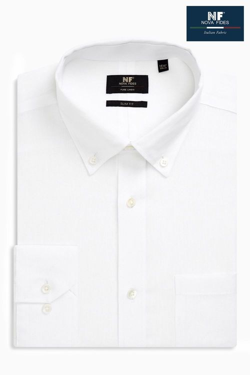 Next Signature Linen Shirt - Slim Fit Single Cuff