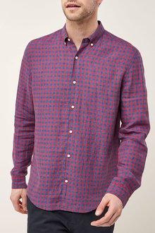 Next Red/Indigo Long Sleeve Pure Linen Gingham Shirt