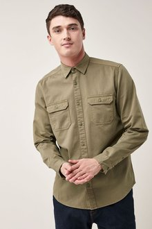 Next Long Sleeve Garment Dyed Overshirt