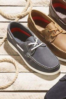 Next Navy Leather Boat Shoe