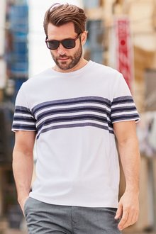 Next White/Navy Block Stripe T-Shirt