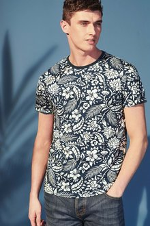 Next Blue Floral Printed T-Shirt