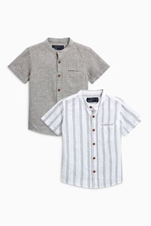 Next Short Sleeve Linen Blend Shirts Two Pack (3mths-6yrs)