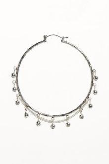 Next Beaded Chain Detail Hoop Earrings