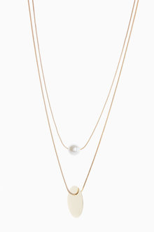 Next Disc Pearl Effect Necklace