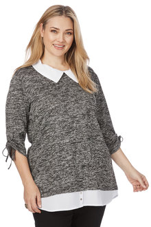 Plus Size - Beme 3/4 Ruched Sleeve Top