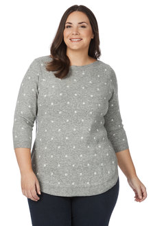 Plus Size - Beme 3/4 Sleeve Star Jumper