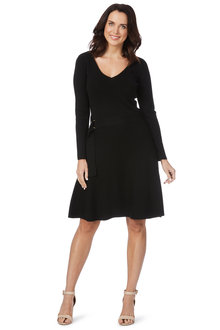 Table Eight Long Sleeve Belted Knit Dress