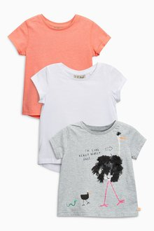 Next Ostrich Print T-Shirts Three Pack (3mths-6yrs)
