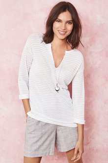 Next Metallic Stripe V-Neck Sweater