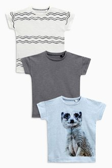 Next Short Sleeve Meerkat T-Shirts Three Pack (3mths-6yrs)