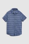 Next Blue Short Sleeve Stripe Textured Shirt (3-16yrs)