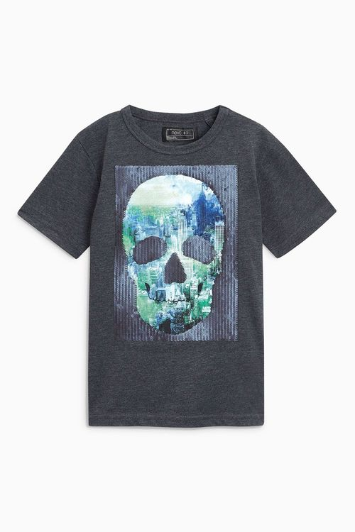 Next Sequin Change Skull T-Shirt (3-16yrs)
