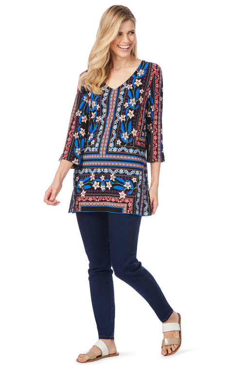 Rockmans 3/4 Sleeve Floral Boarder Print Tunic