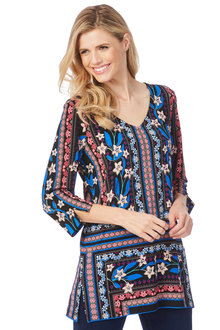 Rockmans 3/4 Sleeve Floral Boarder Print Tunic - 209581