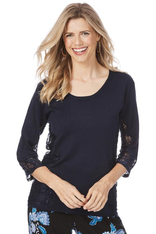 Rockmans 3/4 Sleeve Lace Detail Knit