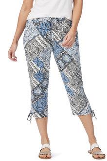 Rockmans Crop Tie Hem Blue Tile Print Pant