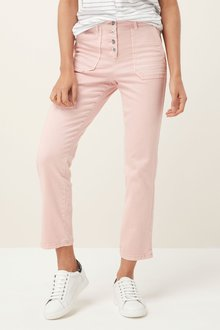 Next Button Front Straight Leg Trousers