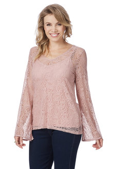 Rockmans Long Sleeve Lace Top