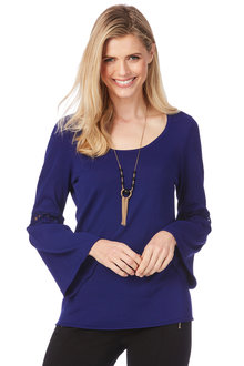 Rockmans Long Flare Sleeve Lace Insert Knit