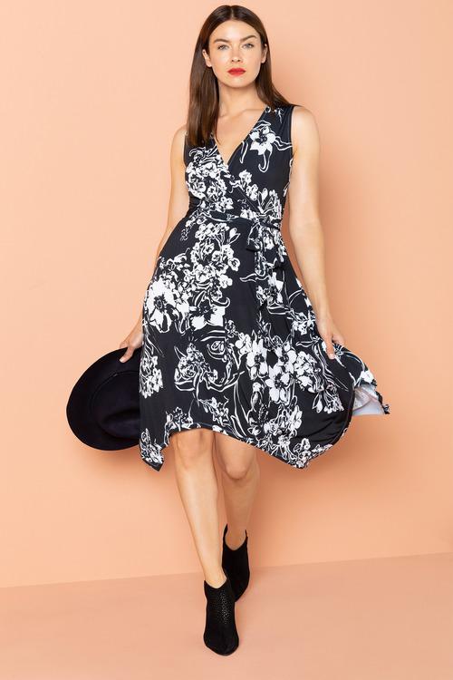 Cature Wrap Dress with Handkerchief Hem