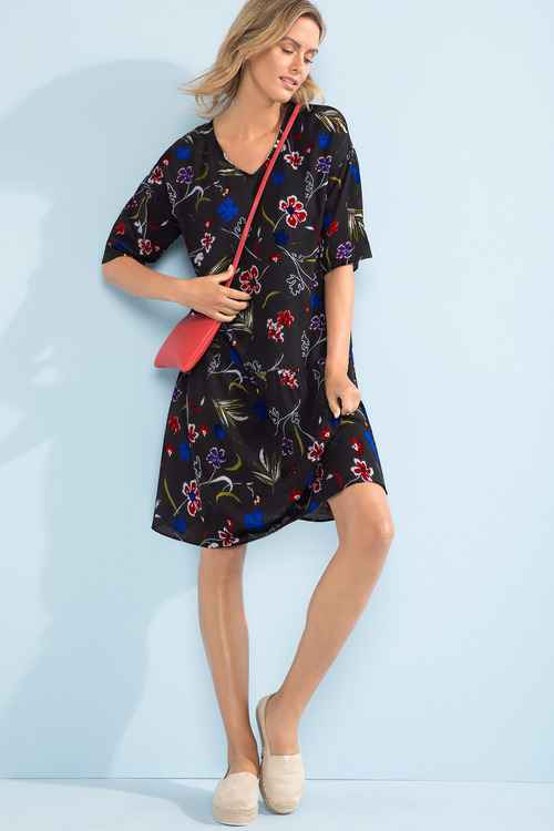 Capture V Neck Drop Hem Dress