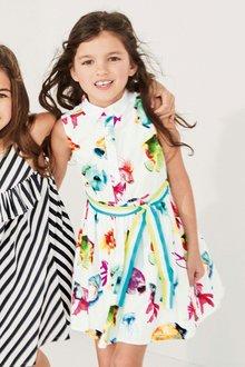 Next White Printed Dress (3-16yrs)