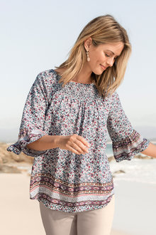 Capture Boho Gather Neck Top