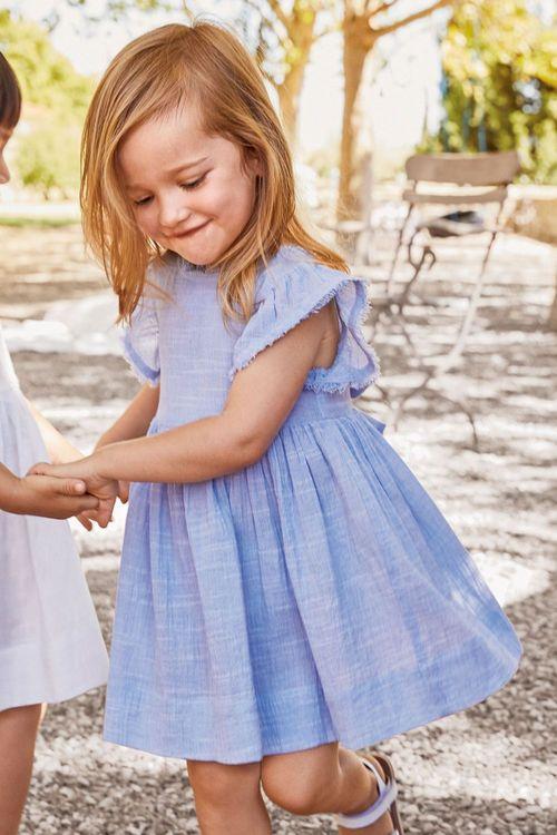 Next Blue Frill Sleeve Dress (3mths-6yrs)