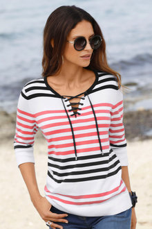 Euro Edit Lace Up Neck Pullover - 210049